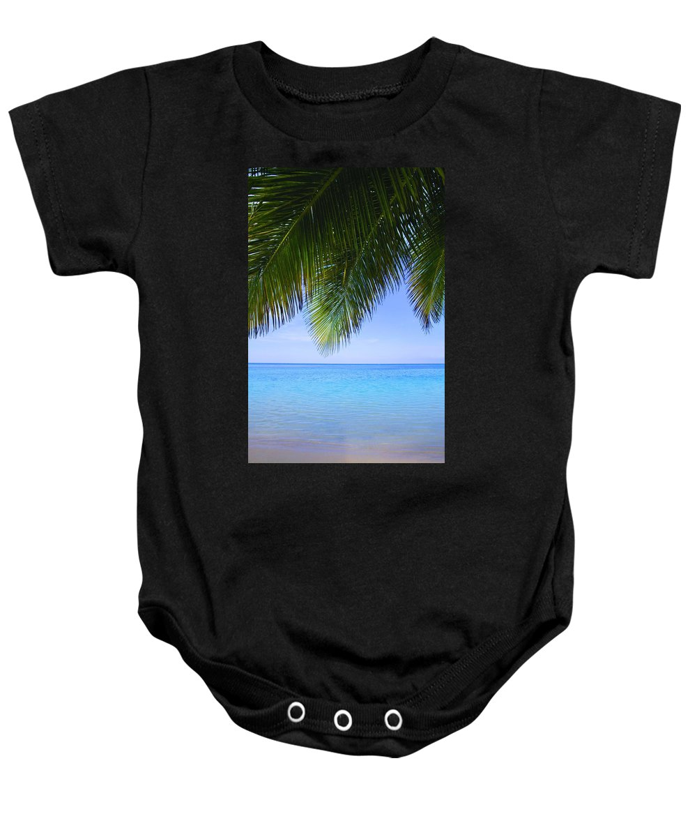 Blue Sky Baby Onesie featuring the photograph Tropical View by Don Hammond