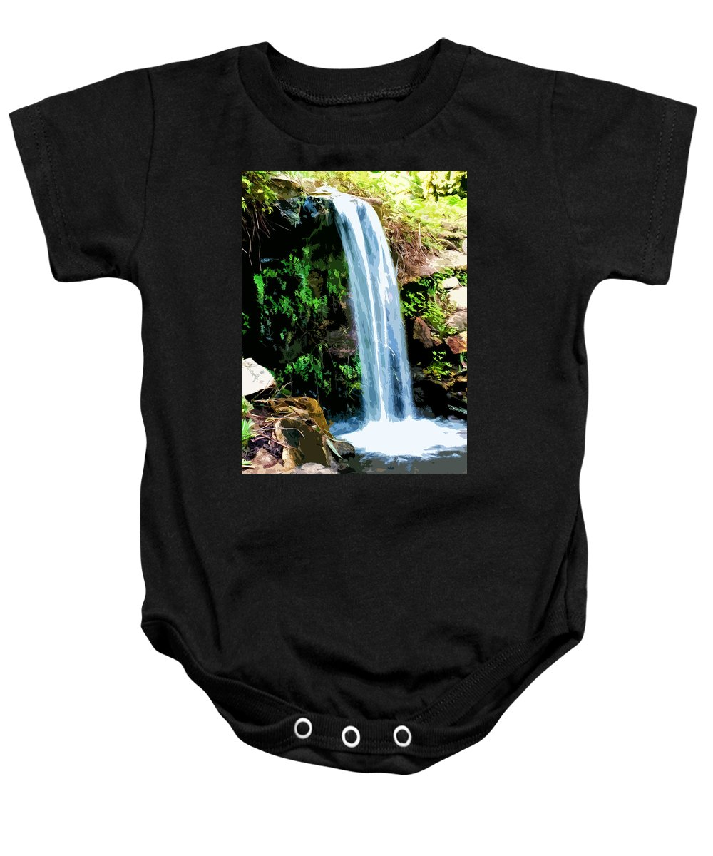 Tropical Baby Onesie featuring the digital art Tropical Waterfall And Pond by Phill Petrovic