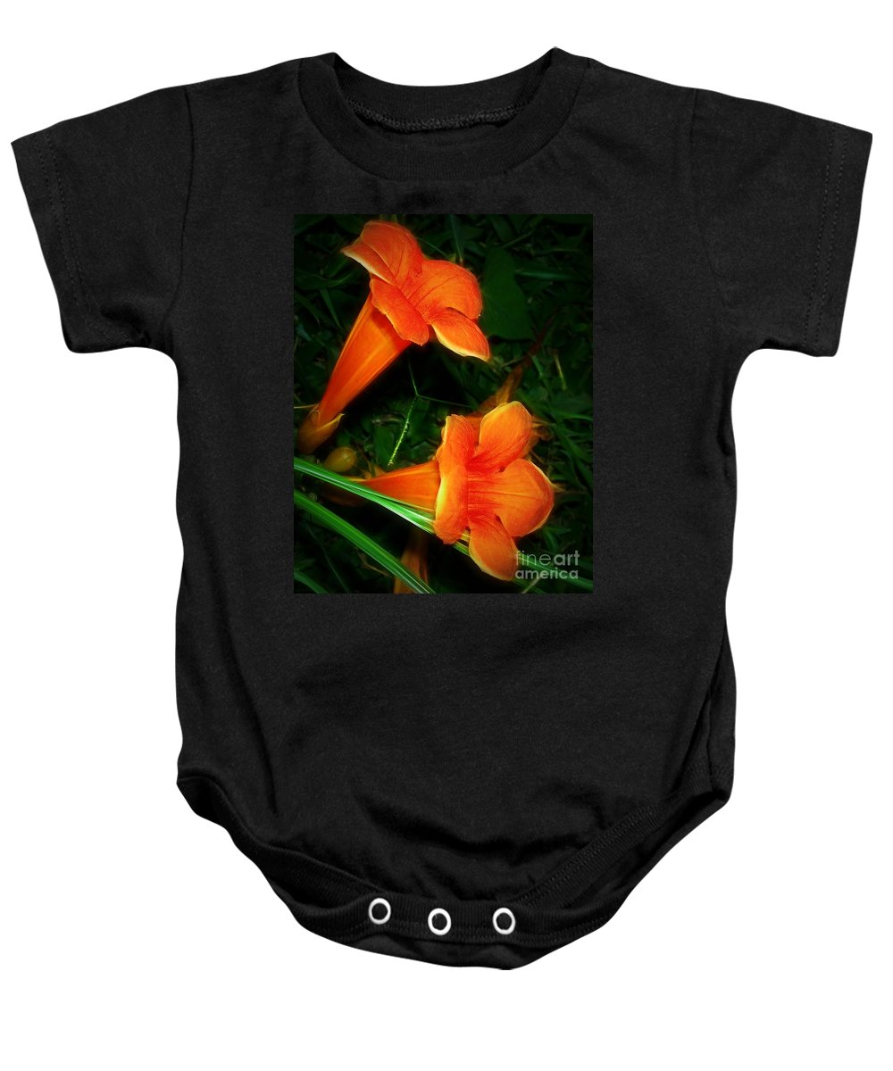 Orange Baby Onesie featuring the photograph Trumpet Twins by Judi Bagwell