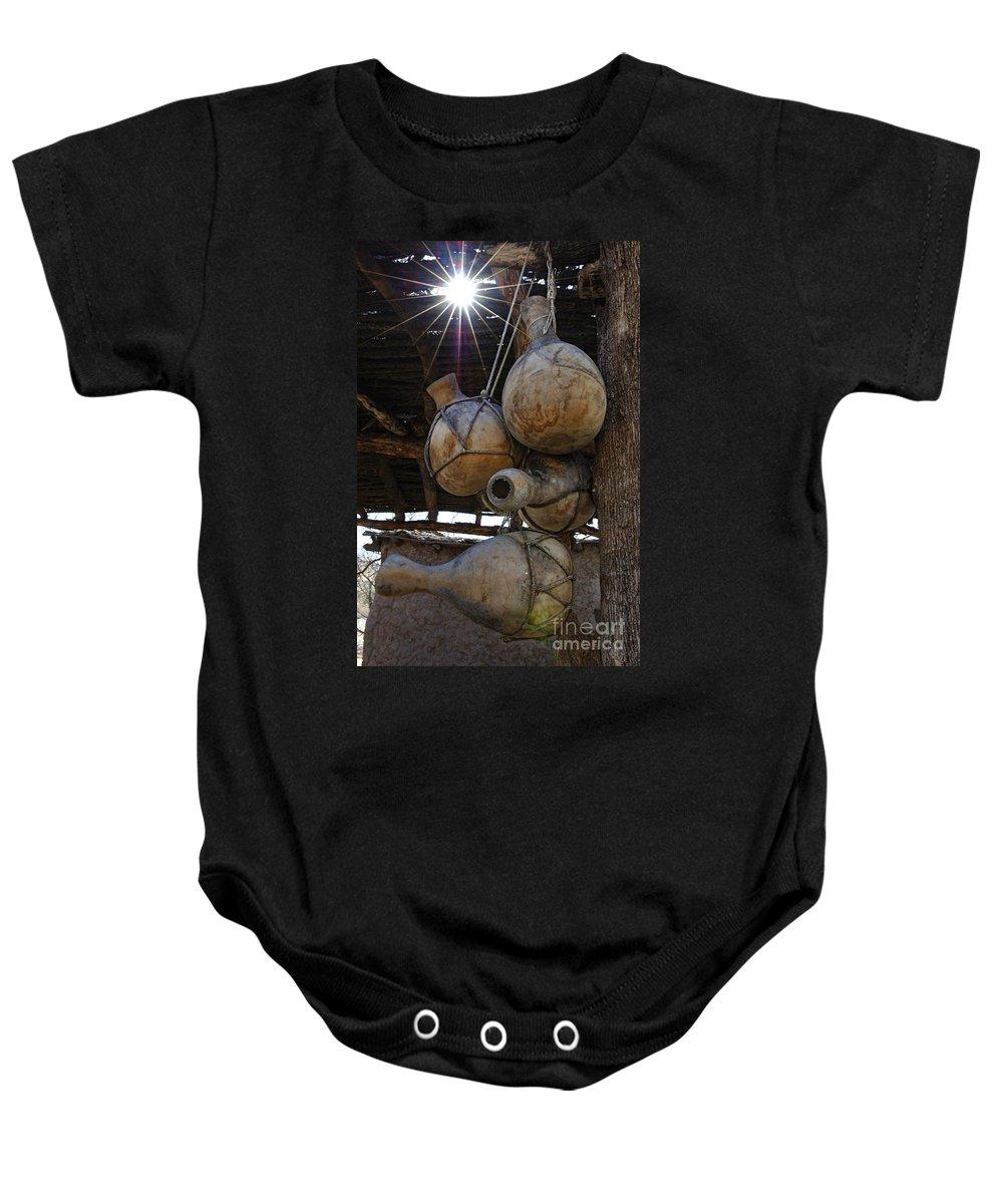 Tumacacori Baby Onesie featuring the photograph Tumacacori Gourds by Bob Christopher