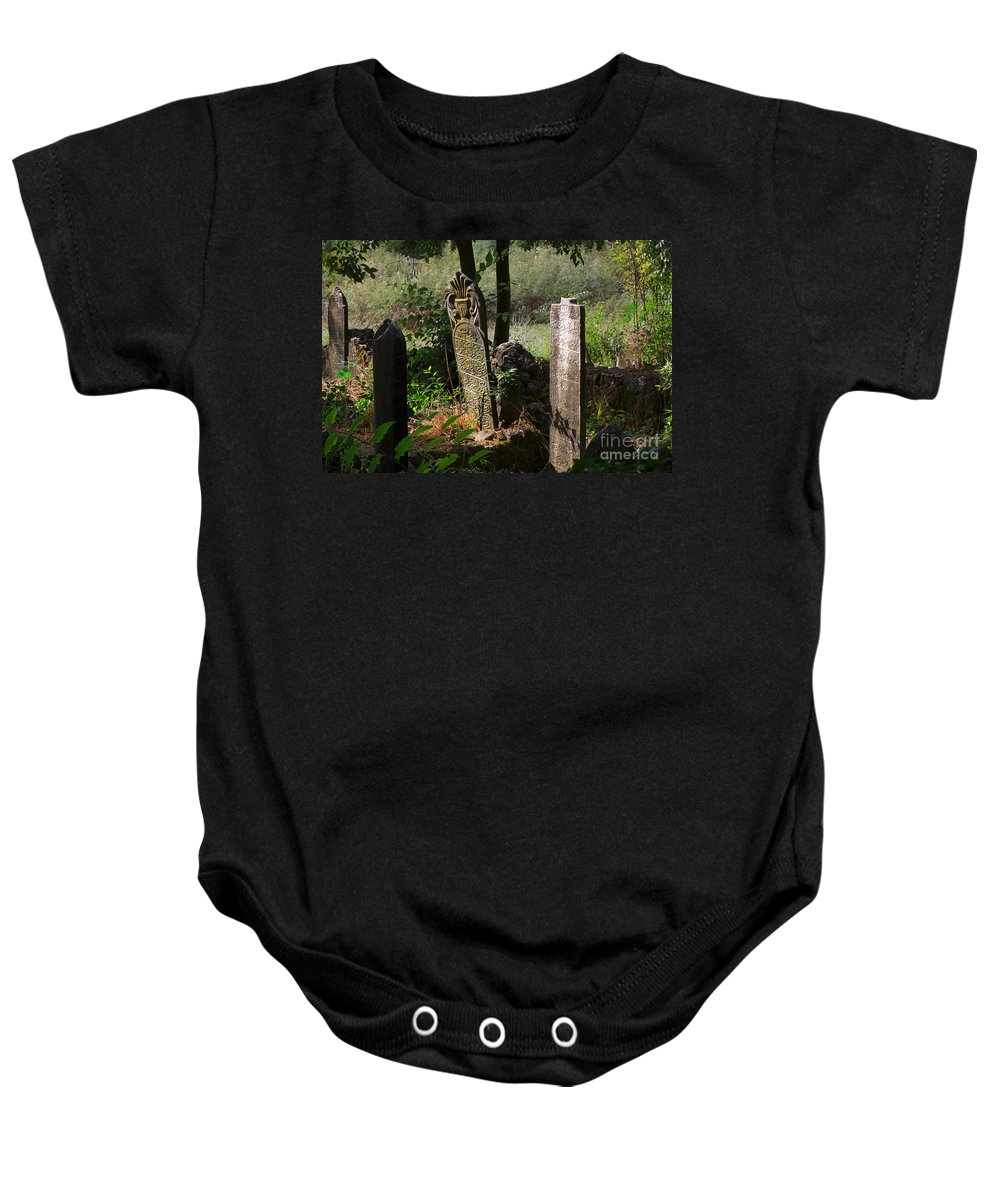 Cemetery Baby Onesie featuring the photograph Turkish Cemetery In Rural Mugla Province by Louise Heusinkveld
