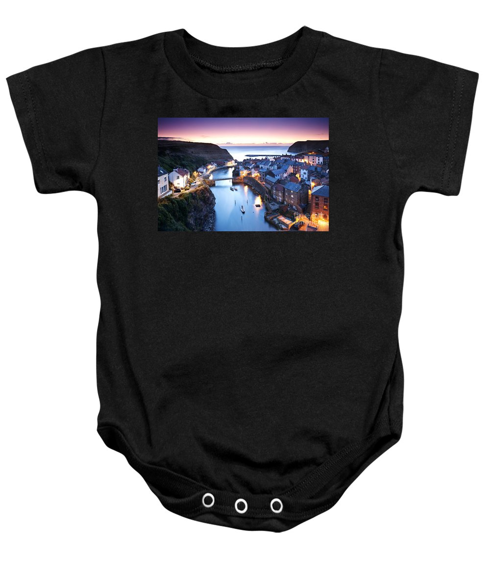 Landscape Baby Onesie featuring the photograph Twilight Glow Staithes by Richard Burdon