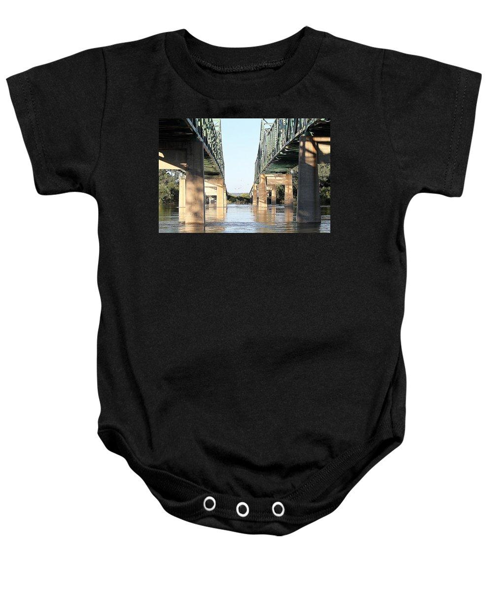 Bridge Baby Onesie featuring the photograph Twin Bridges by Elizabeth Winter