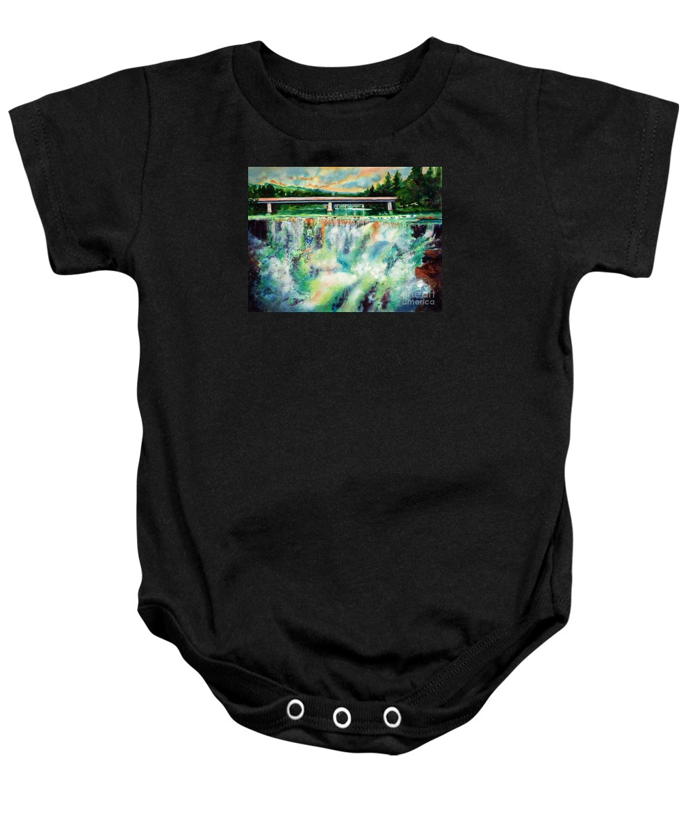 Paintings Baby Onesie featuring the painting Two Bridges And A Falls 2     by Kathy Braud