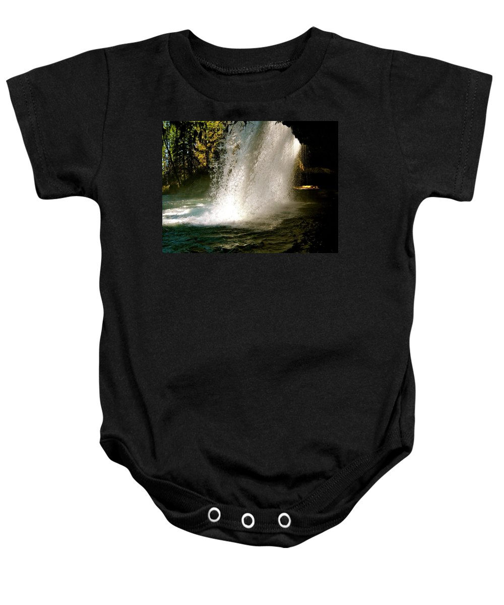 Falls Baby Onesie featuring the photograph Under The Falls by Linda Hutchins