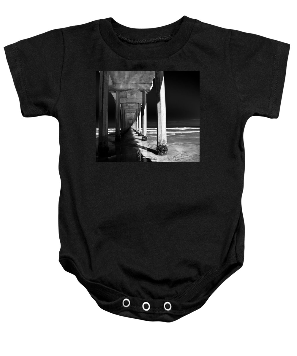 Pier Baby Onesie featuring the photograph Under The Pier by Ralf Kaiser