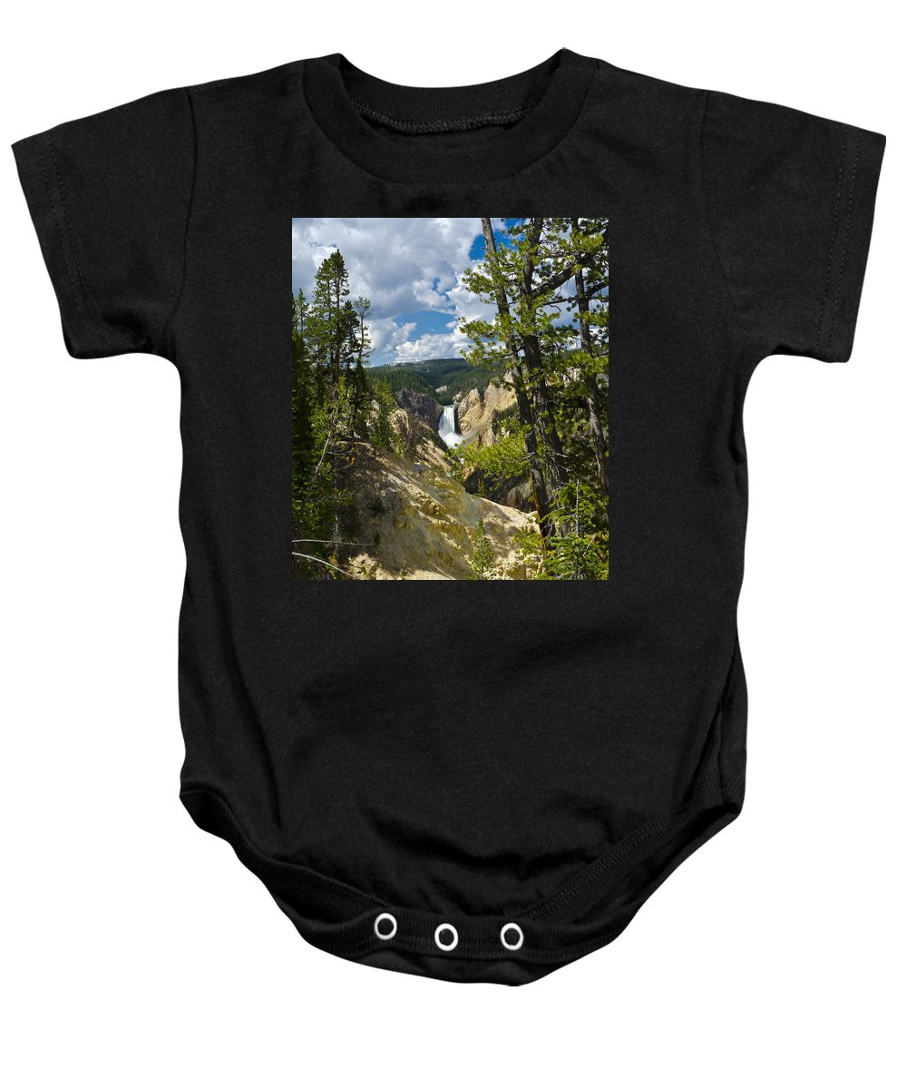Yellowstone National Park Baby Onesie featuring the photograph Upper Falls II by Jon Berghoff