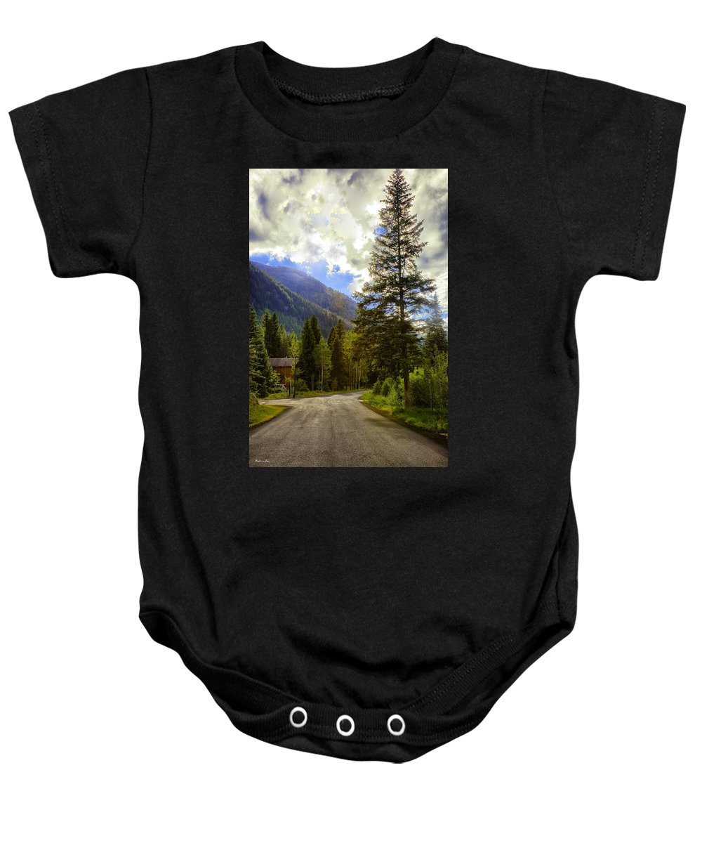 Vail Baby Onesie featuring the photograph Vail Country Road 1 by Madeline Ellis