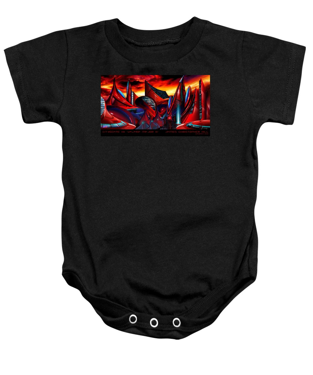 Science Fiction City Baby Onesie featuring the painting Valaria Major IIi by James Christopher Hill