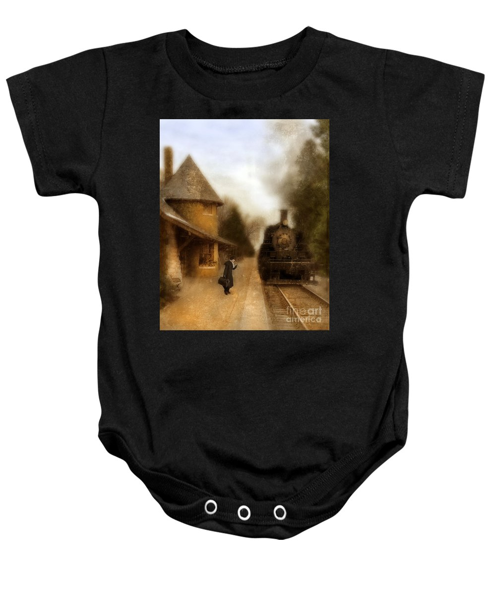 Woman Baby Onesie featuring the photograph Victorian Woman At Train Station by Jill Battaglia