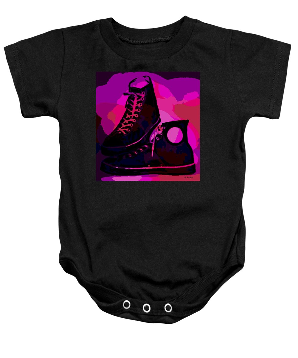 Antique Baby Onesie featuring the photograph Vintage Basketball Shoes by George Pedro