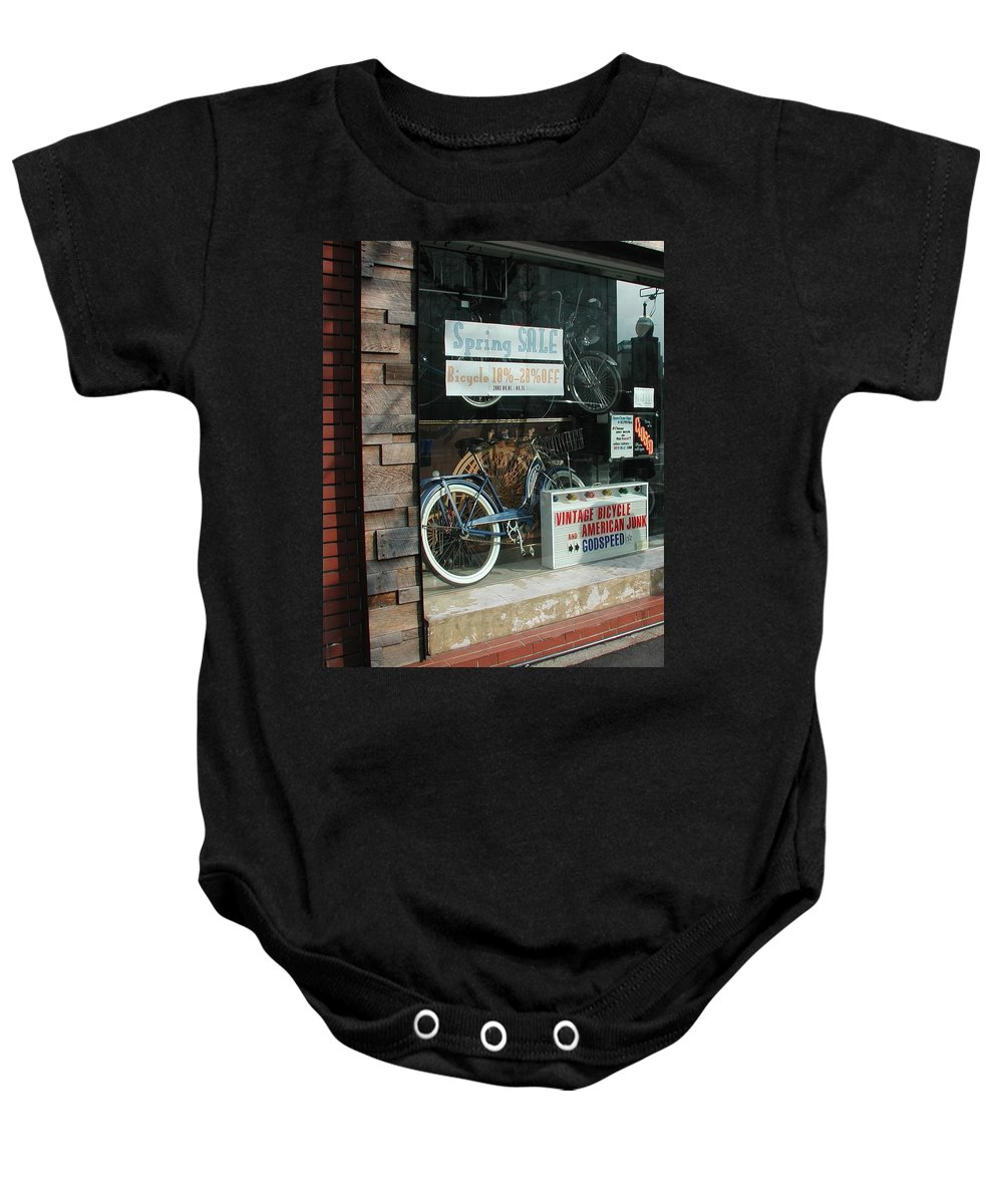 Vintage Bicycle And American Junk Godspeed Baby Onesie featuring the photograph Vintage Bicycle And American Junk by Anna Ruzsan