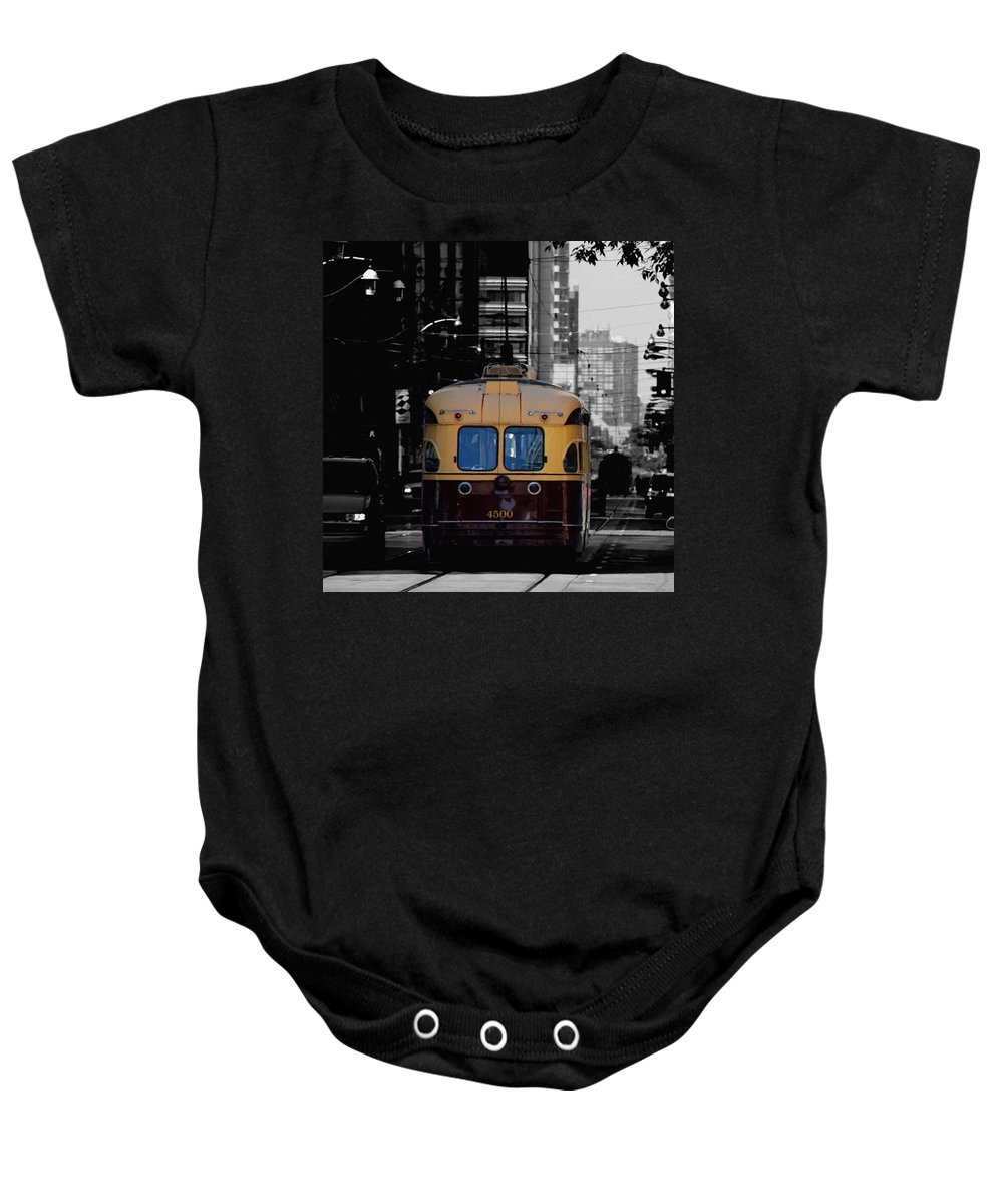 Vintage Trolley Baby Onesie featuring the photograph Vintage Trolley by Andrew Fare