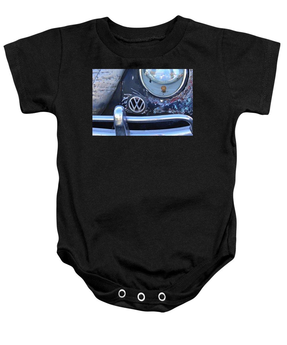 Volkswagen Vw Baby Onesie featuring the photograph Volkswagen Vw Emblem by Jill Reger