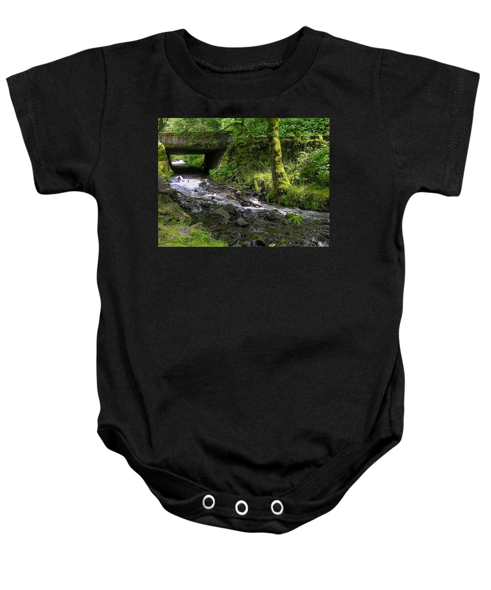 Wahkeena Falls Baby Onesie featuring the photograph Wahkeena Falls Three by Mike Penney