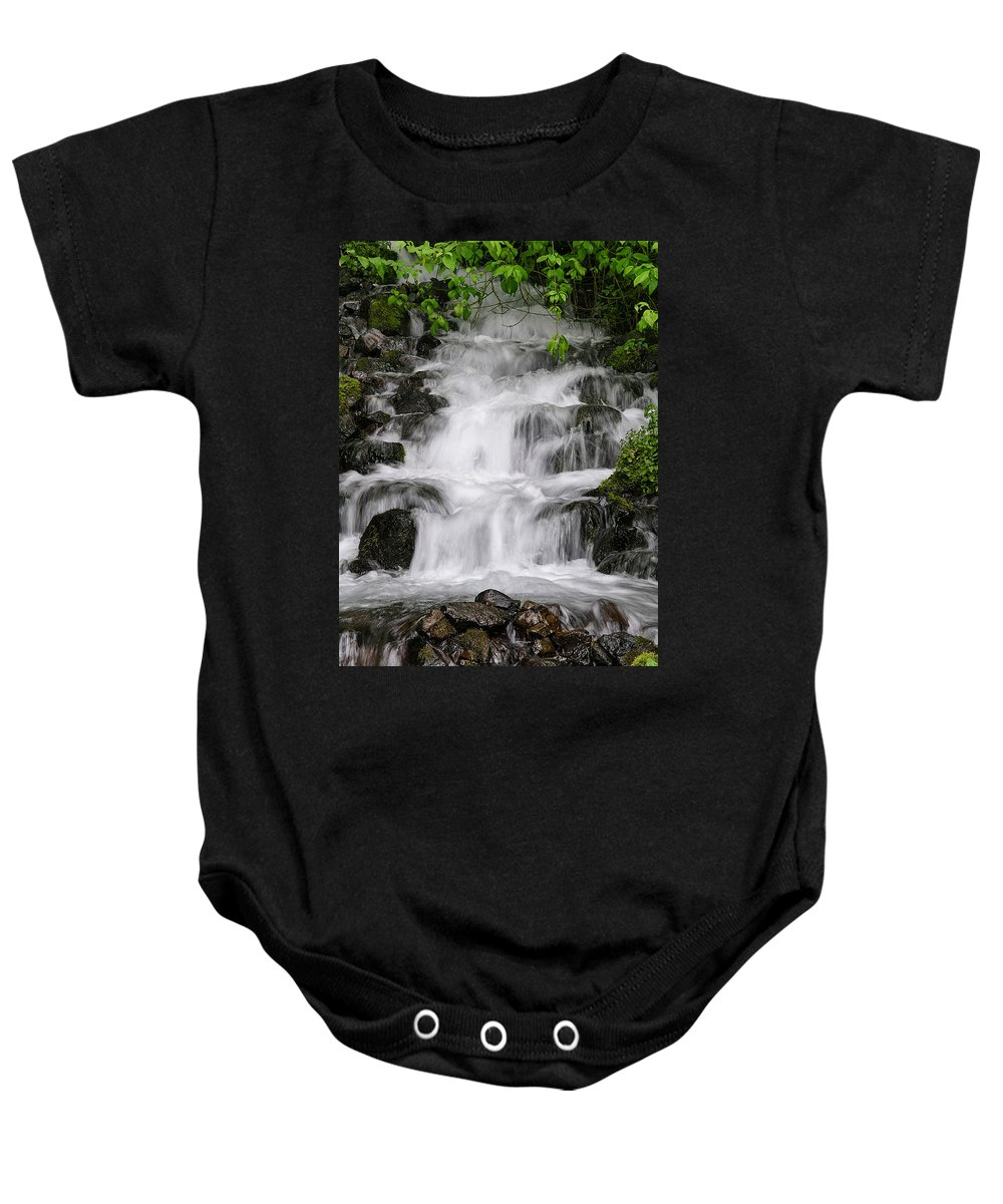 Wahkeena Falls Baby Onesie featuring the photograph Wahkeena Falls Two by Mike Penney
