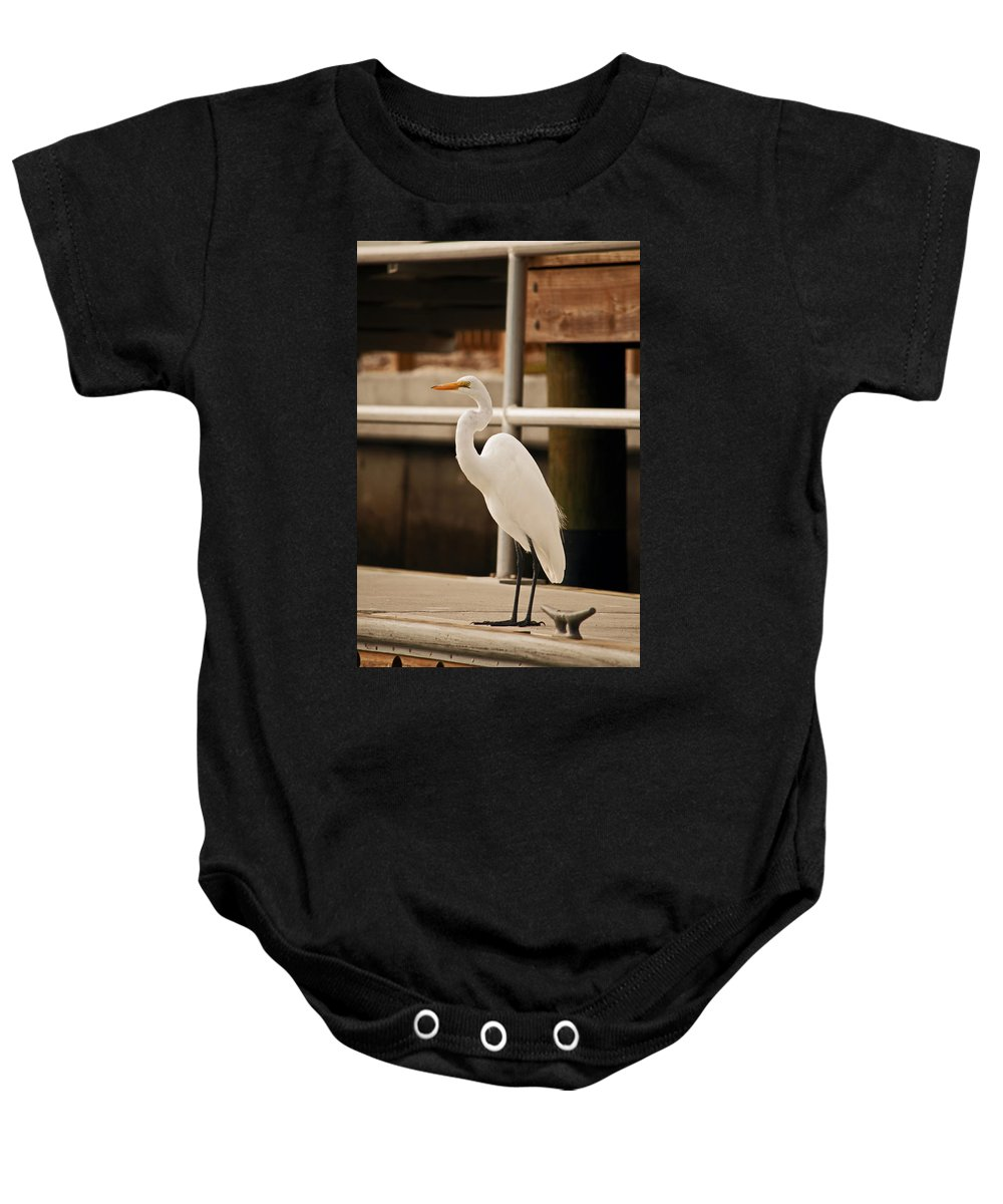 Egret Baby Onesie featuring the photograph Waiting For My Ship To Come In by Christine Stonebridge