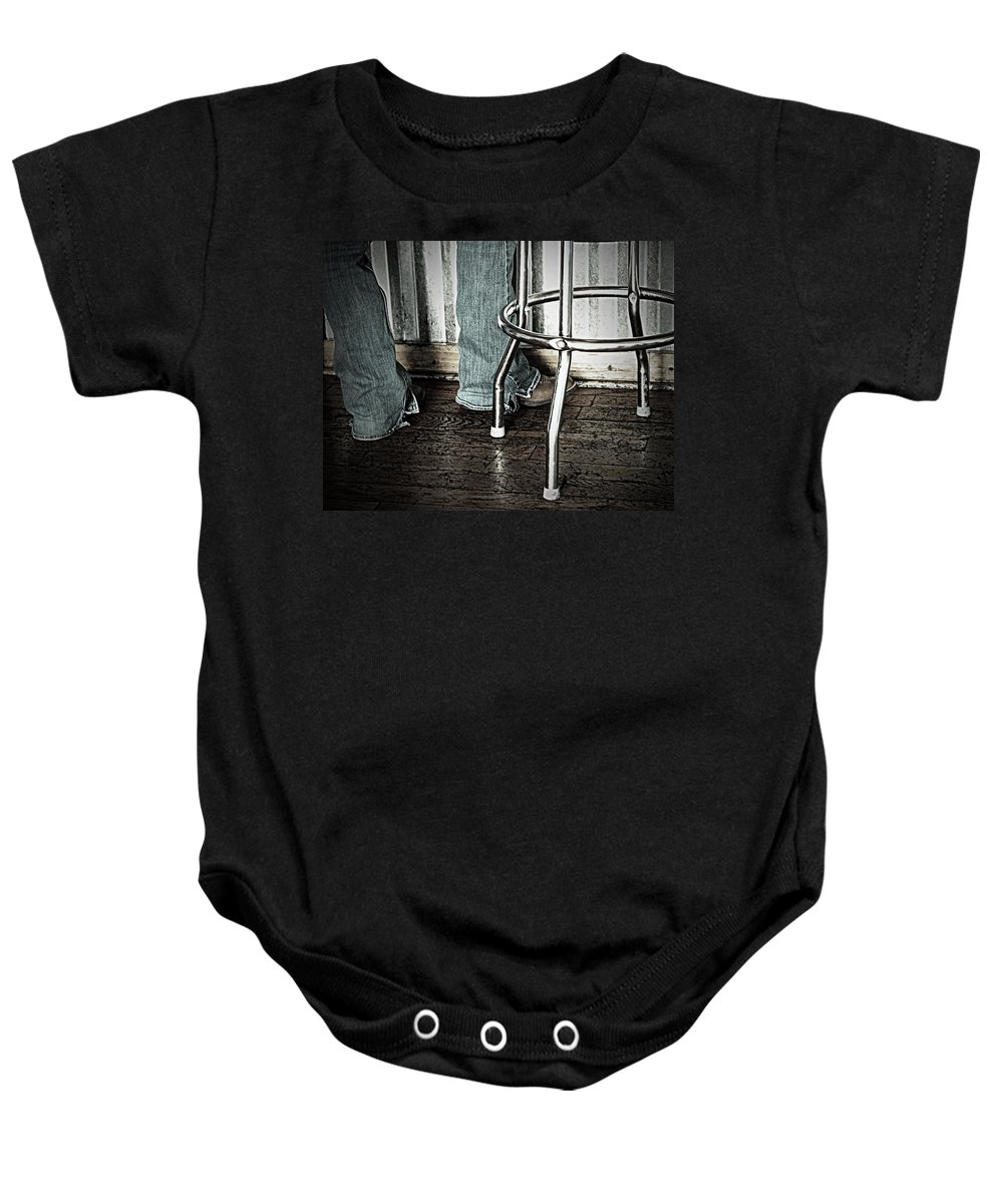 Urban Baby Onesie featuring the photograph Waitress In Boots by Chris Berry
