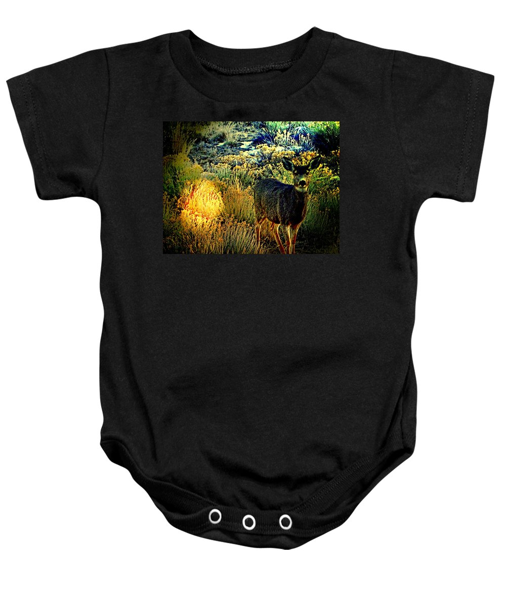 Abstract Baby Onesie featuring the photograph Watcher by Lenore Senior