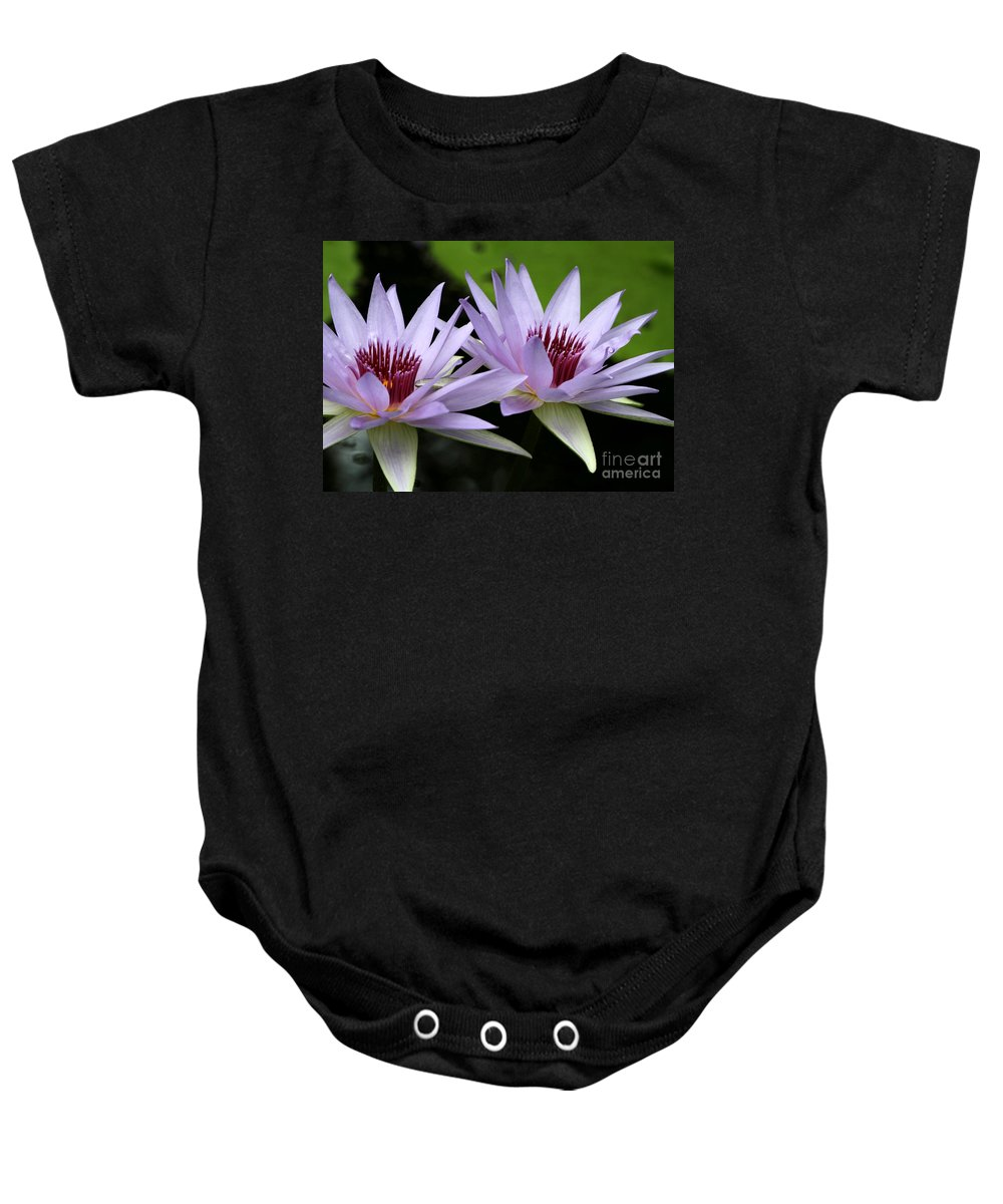 Macro Baby Onesie featuring the photograph Water Lily Twins by Sabrina L Ryan