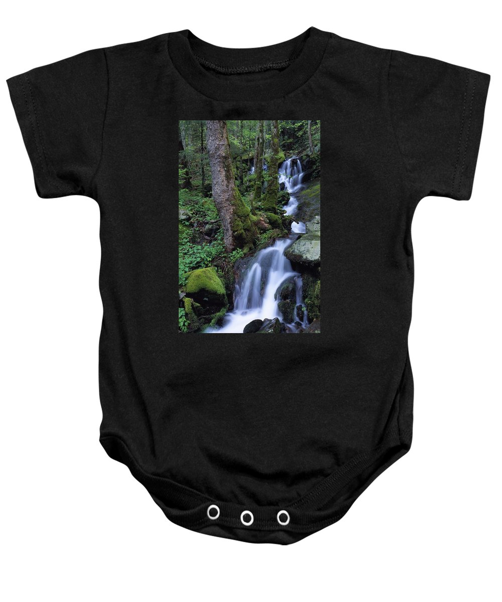 Outdoors Baby Onesie featuring the photograph Waterfall Pouring Down Mountainside by Natural Selection Robert Cable