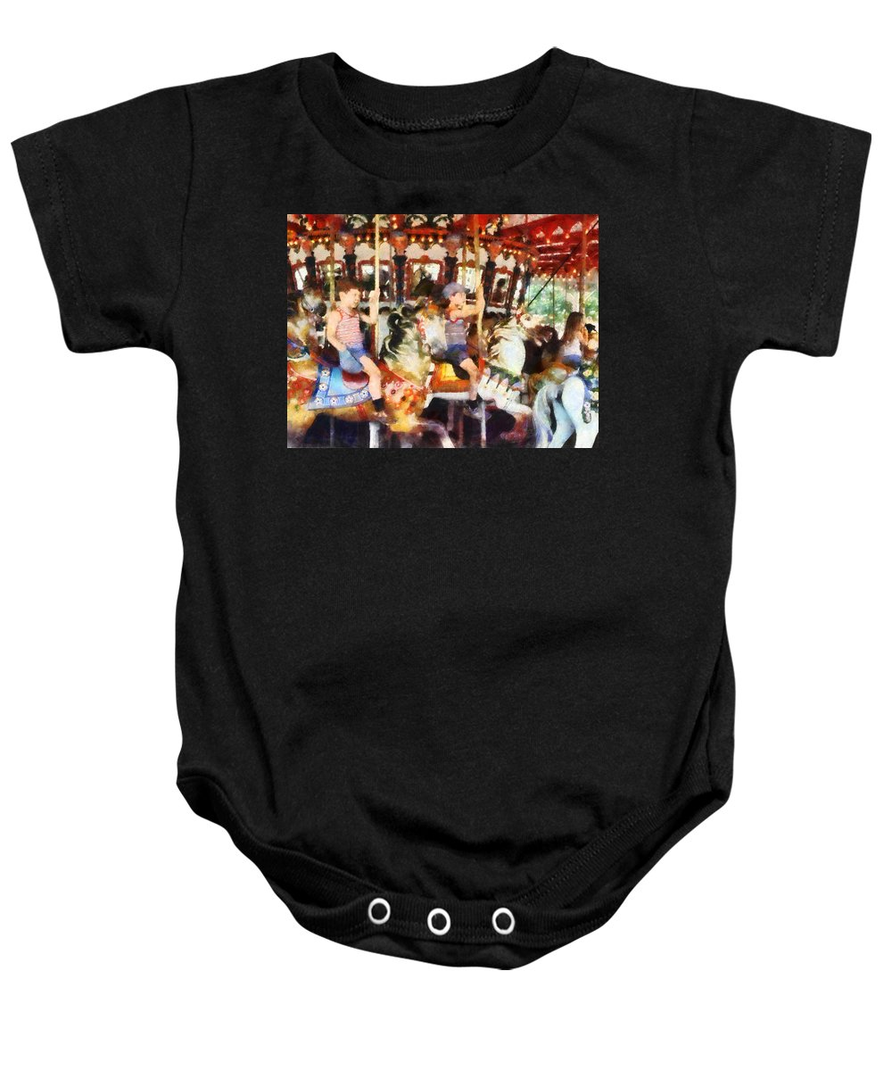 Carousel Baby Onesie featuring the photograph Waving Hi From The Merry-go-round by Susan Savad