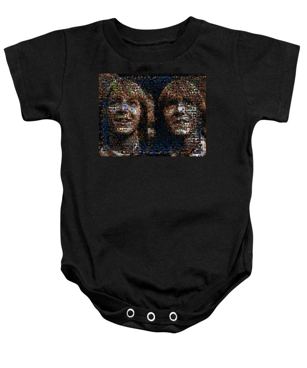 Weasly Twins Baby Onesie featuring the mixed media Weasley Twins Mosaic by Paul Van Scott