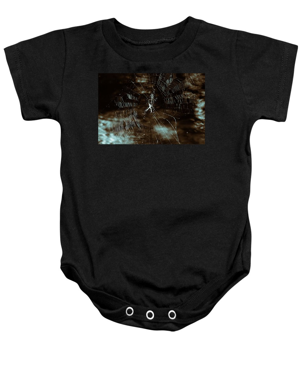 Spider Web-stream Baby Onesie featuring the photograph Web Glitter by Douglas Barnard
