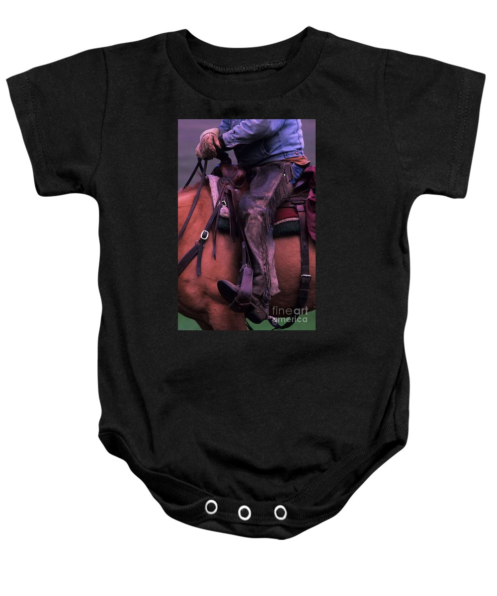 Cowboy Baby Onesie featuring the photograph Well Worn by Bob Christopher