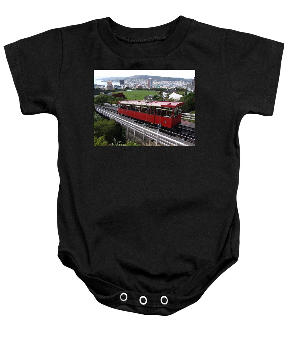 Tram Baby Onesie featuring the photograph Tram Car Viewpoint - Wellington, New Zealand by Ian Mcadie