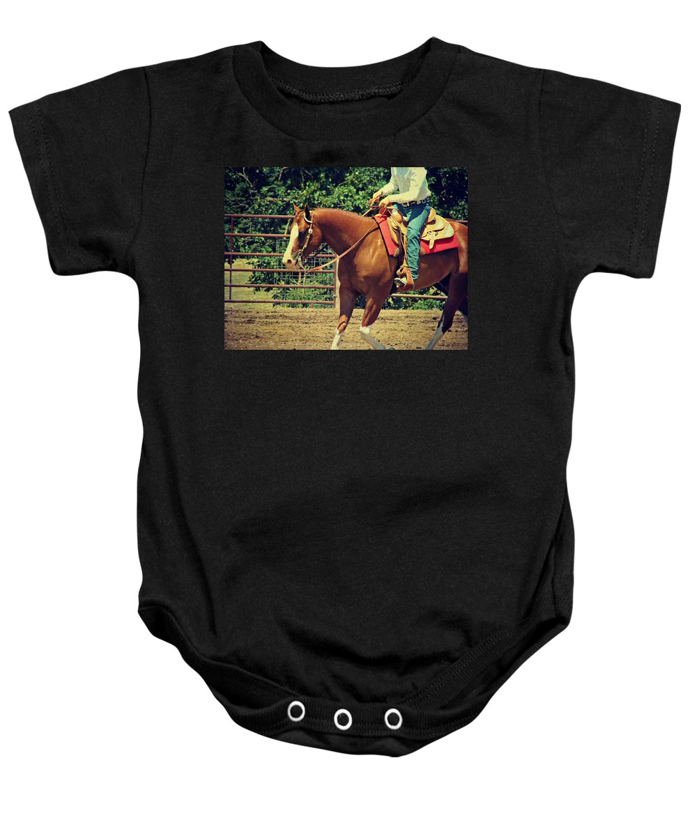 Horse Baby Onesie featuring the photograph Western Sorrel by Cassie Peters