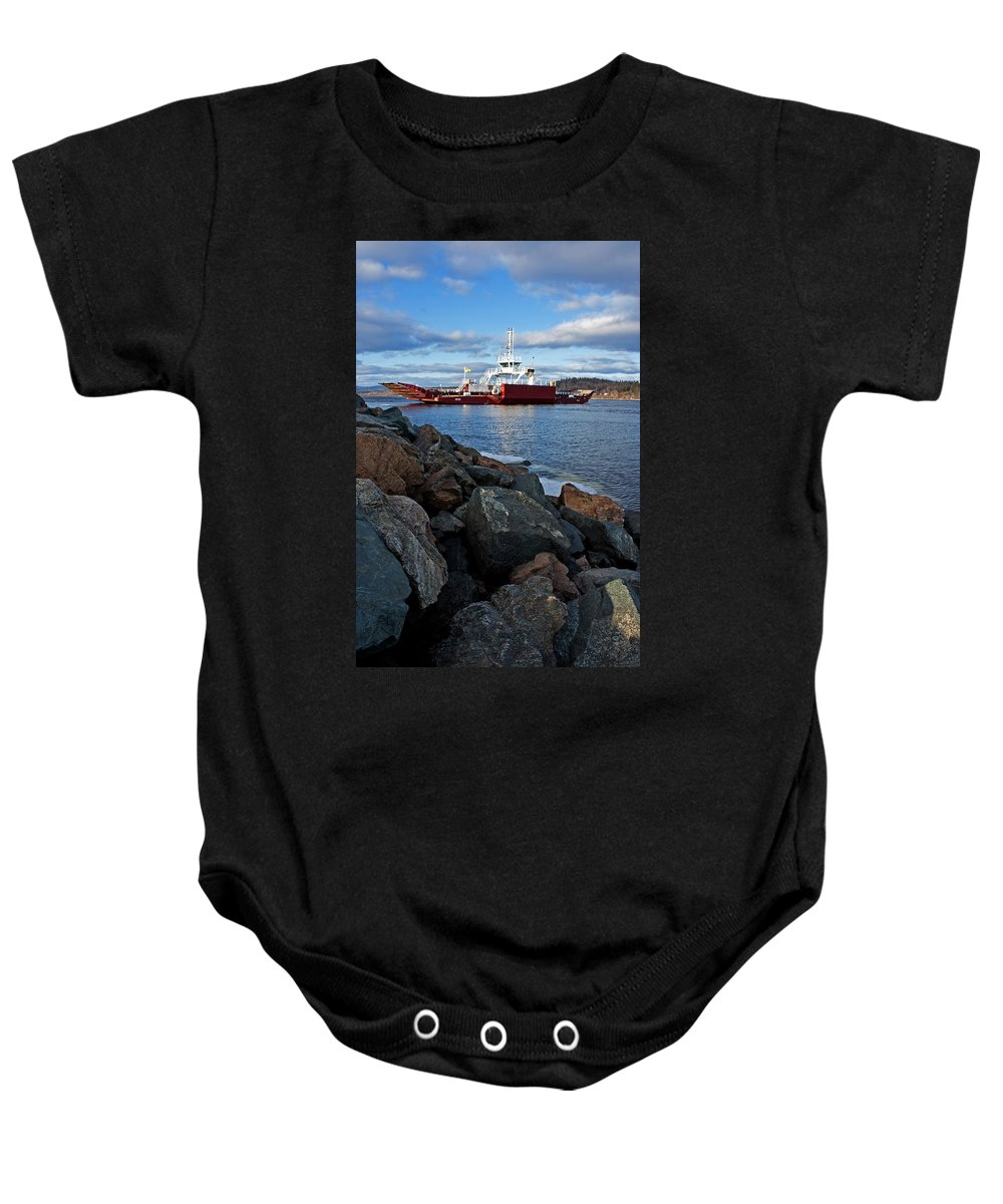 Boat Baby Onesie featuring the photograph Westfield Ferry by Jeff Galbraith