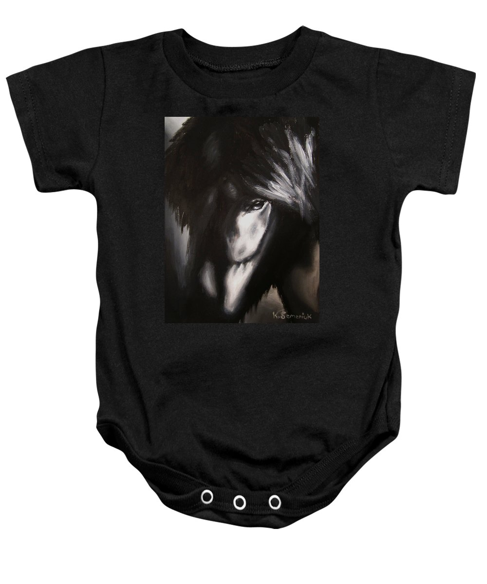 Whispers Baby Onesie featuring the painting Whispers In The Dark by Kayleigh Semeniuk