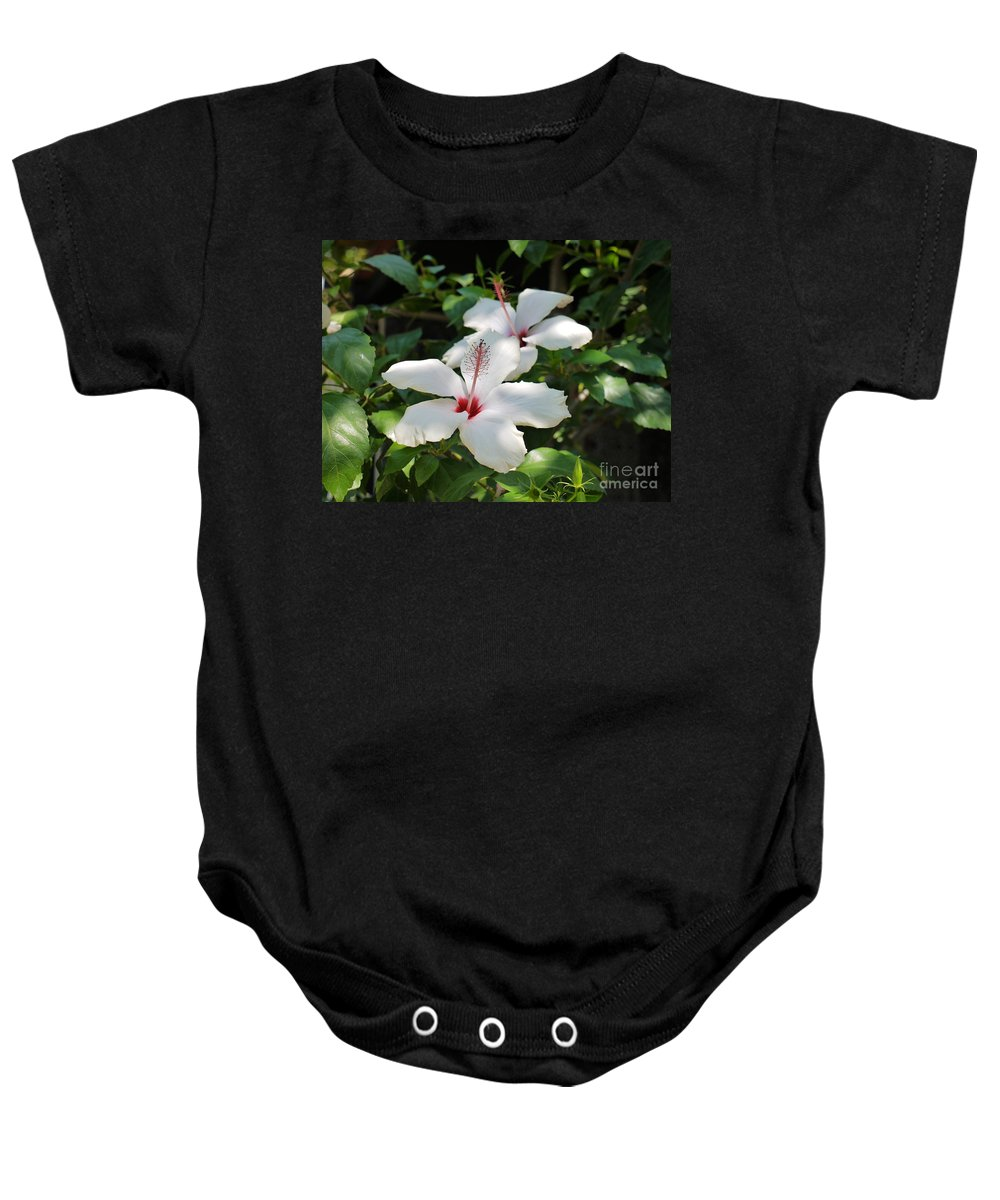 Hibiscus Baby Onesie featuring the photograph White Hibiscus by John Chatterley
