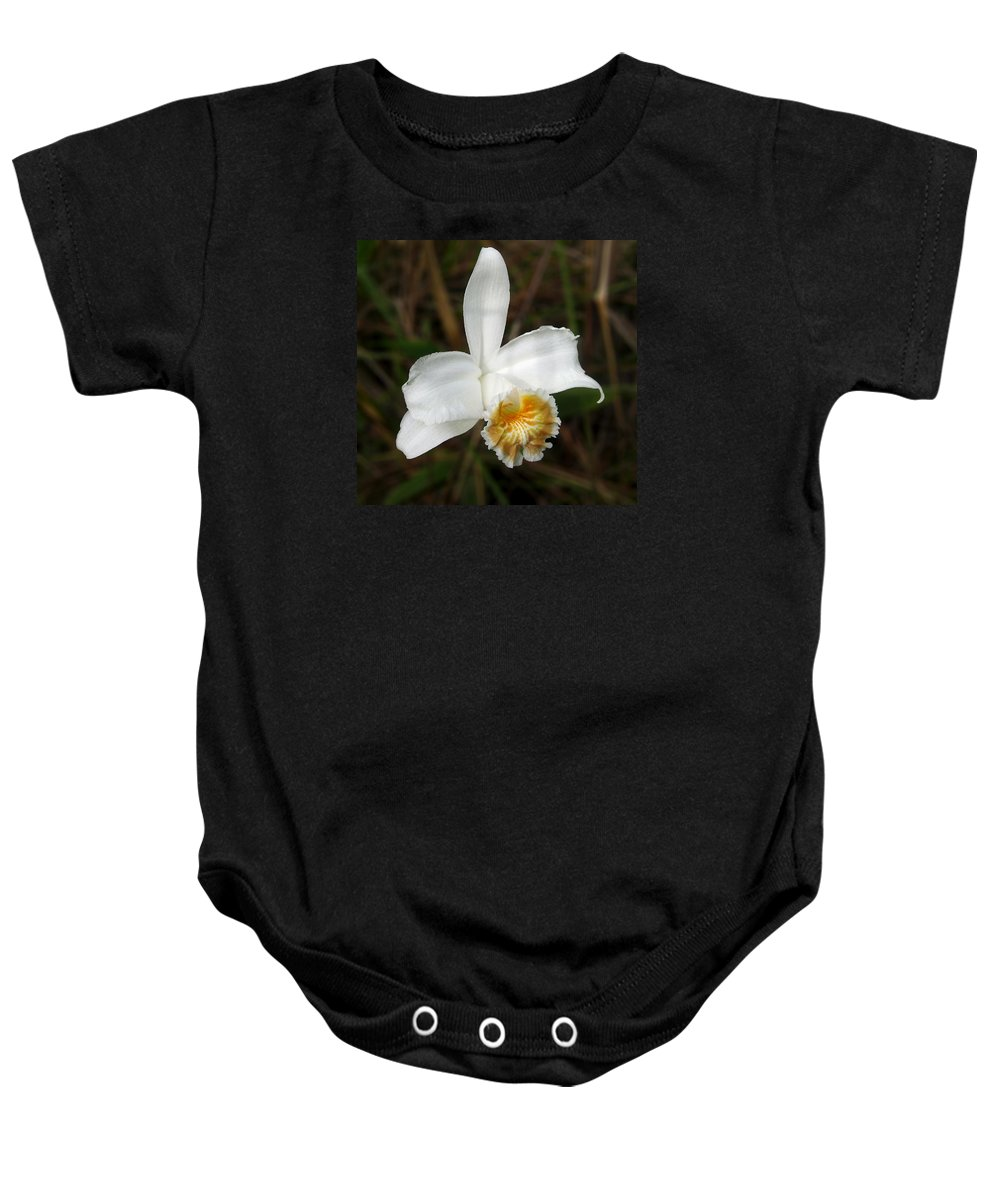 Orchid Baby Onesie featuring the photograph White Orchid by RicardMN Photography