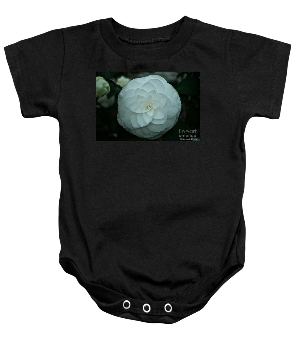 Tropical Plant Baby Onesie featuring the photograph White Perfection by Susan Herber