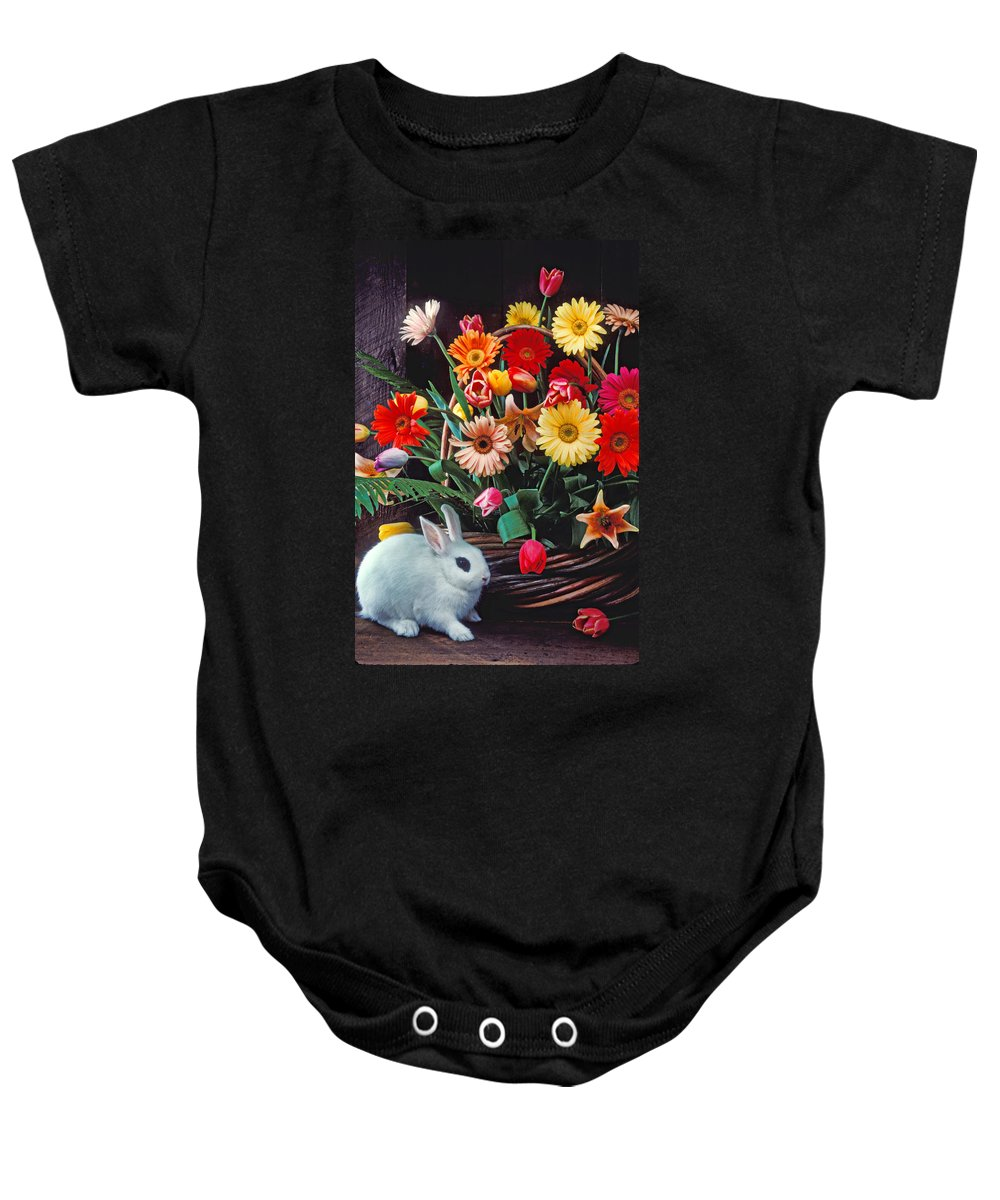 Bunny Baby Onesie featuring the photograph White Rabbit By Basket Of Flowers by Garry Gay