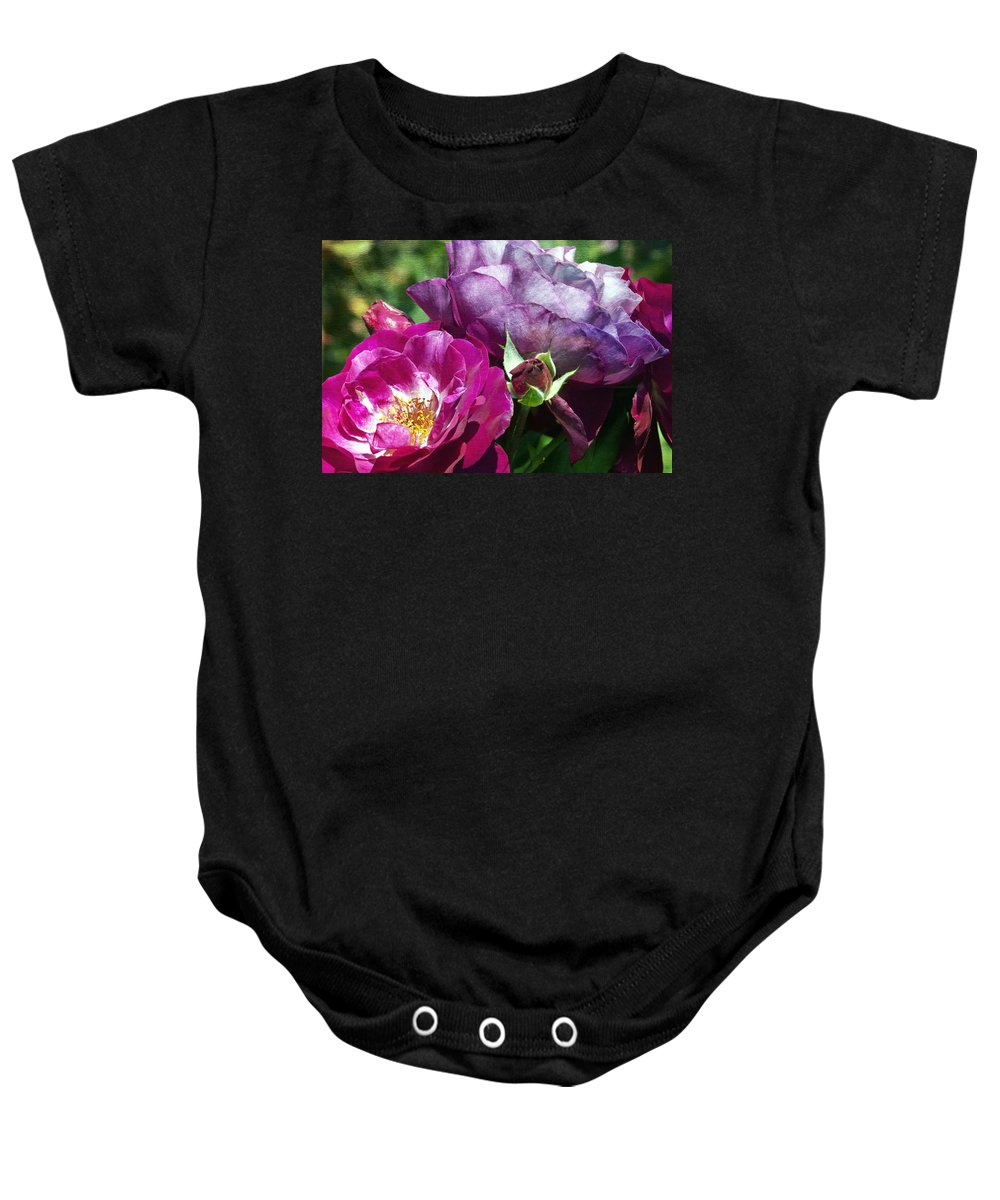 Wild Blue Yonder Rose Baby Onesie featuring the photograph Wild Blue Yonder by Linda Dunn