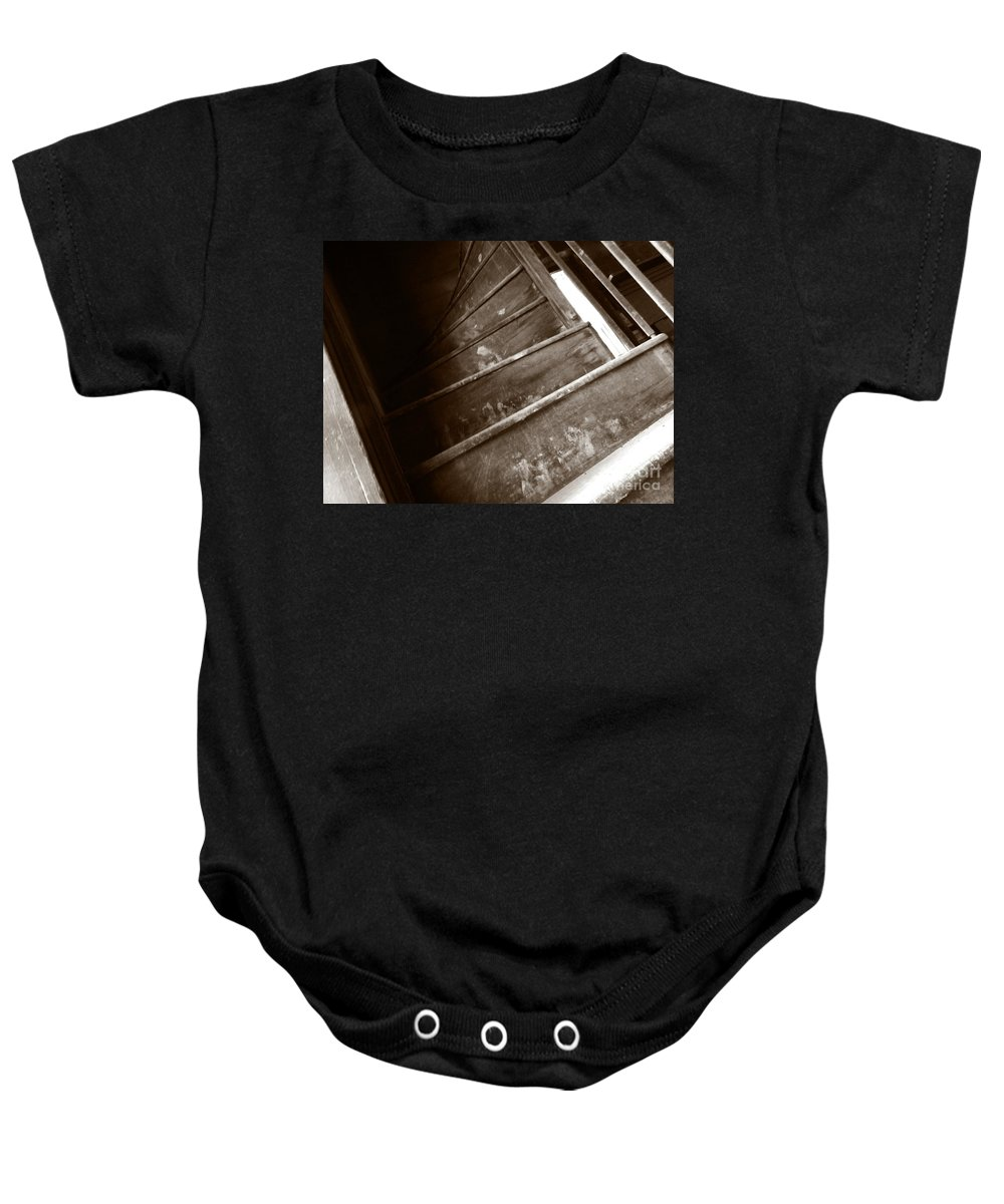 Sepia Baby Onesie featuring the photograph Winding Staircase by Charleen Treasures