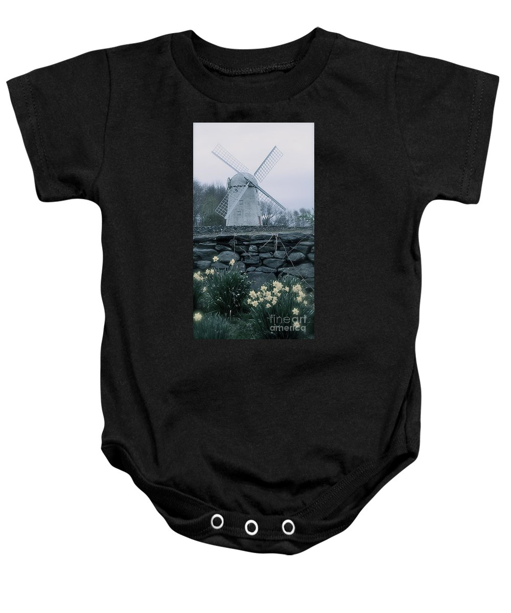 Jamestown Windmill Baby Onesie featuring the photograph Windmill And Daffodils by Nancy Patterson