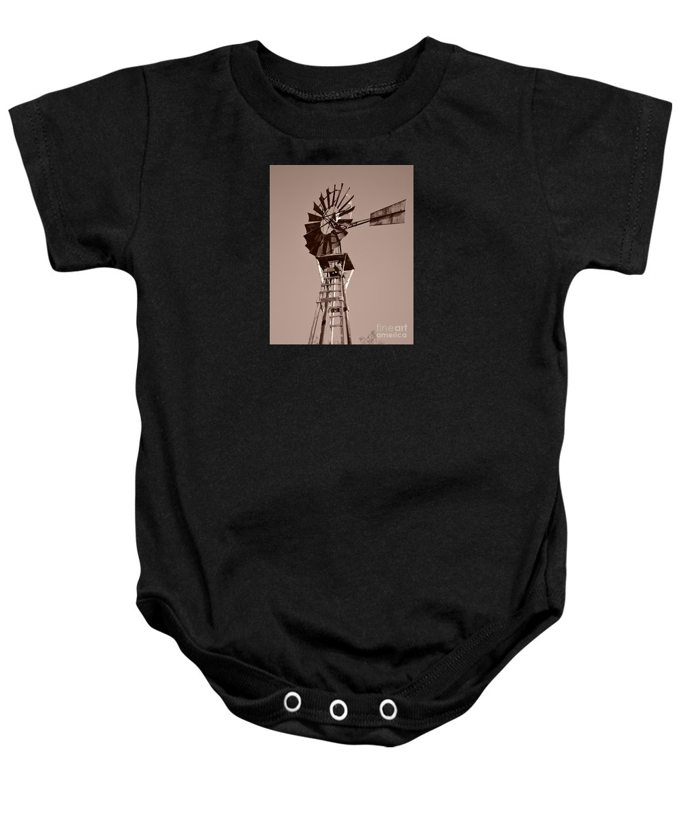 Windmill Baby Onesie featuring the photograph Windmill Sepia by Rebecca Margraf