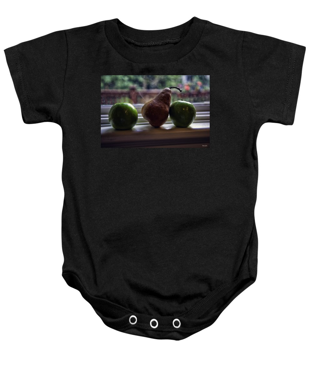 Fruit Baby Onesie featuring the photograph Windowsill 3 by Madeline Ellis