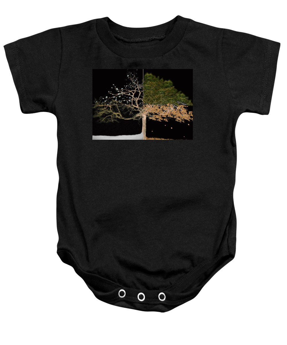 Tree Baby Onesie featuring the painting Winter Spring Summer And Fall by Gray Artus