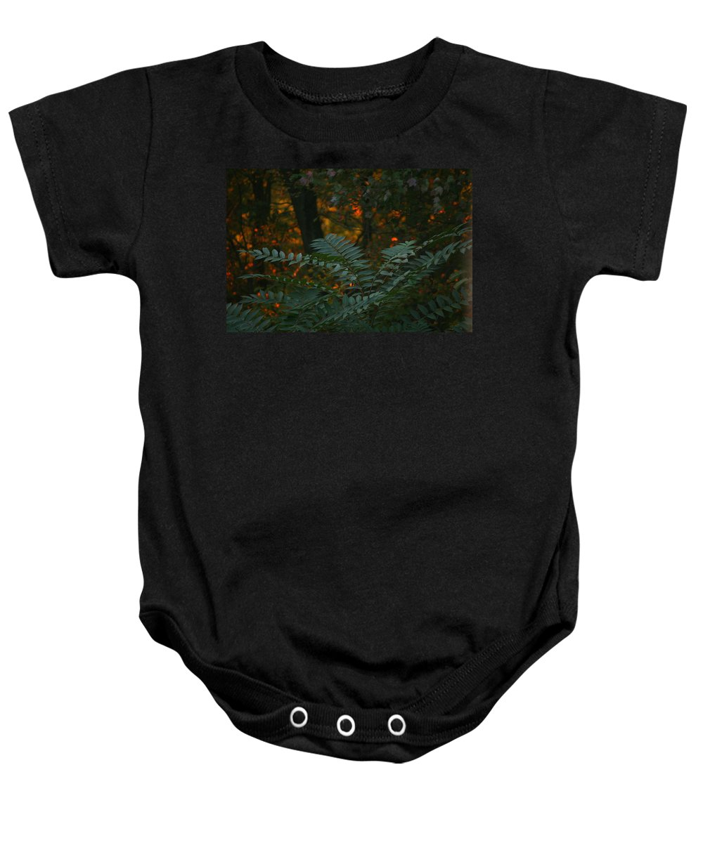 Sunset Baby Onesie featuring the photograph Wooded Dream by Neal Eslinger