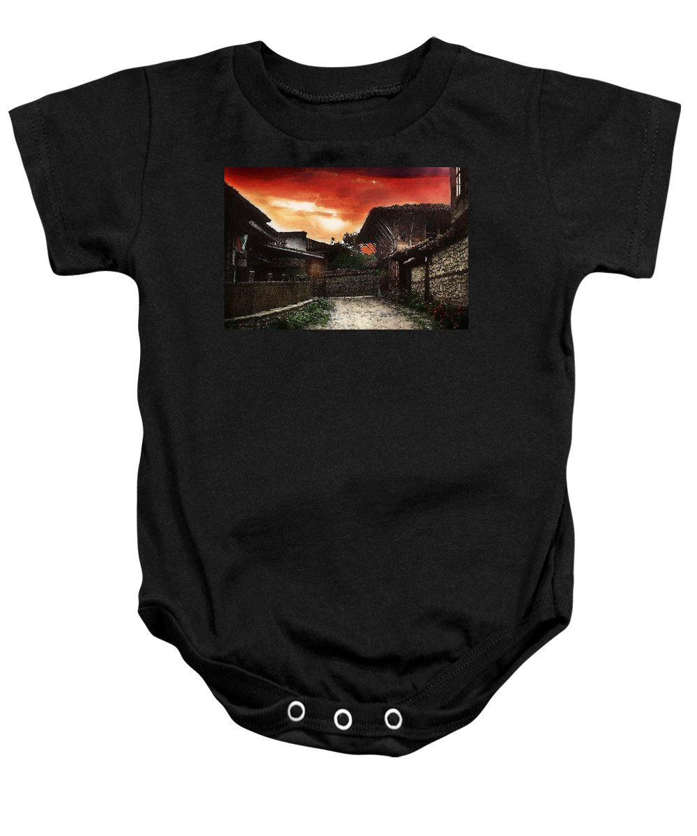 Woodern Houses Along Street At Sunset Woodern Village Baby Onesie featuring the photograph Woodern Village by Cliff Norton
