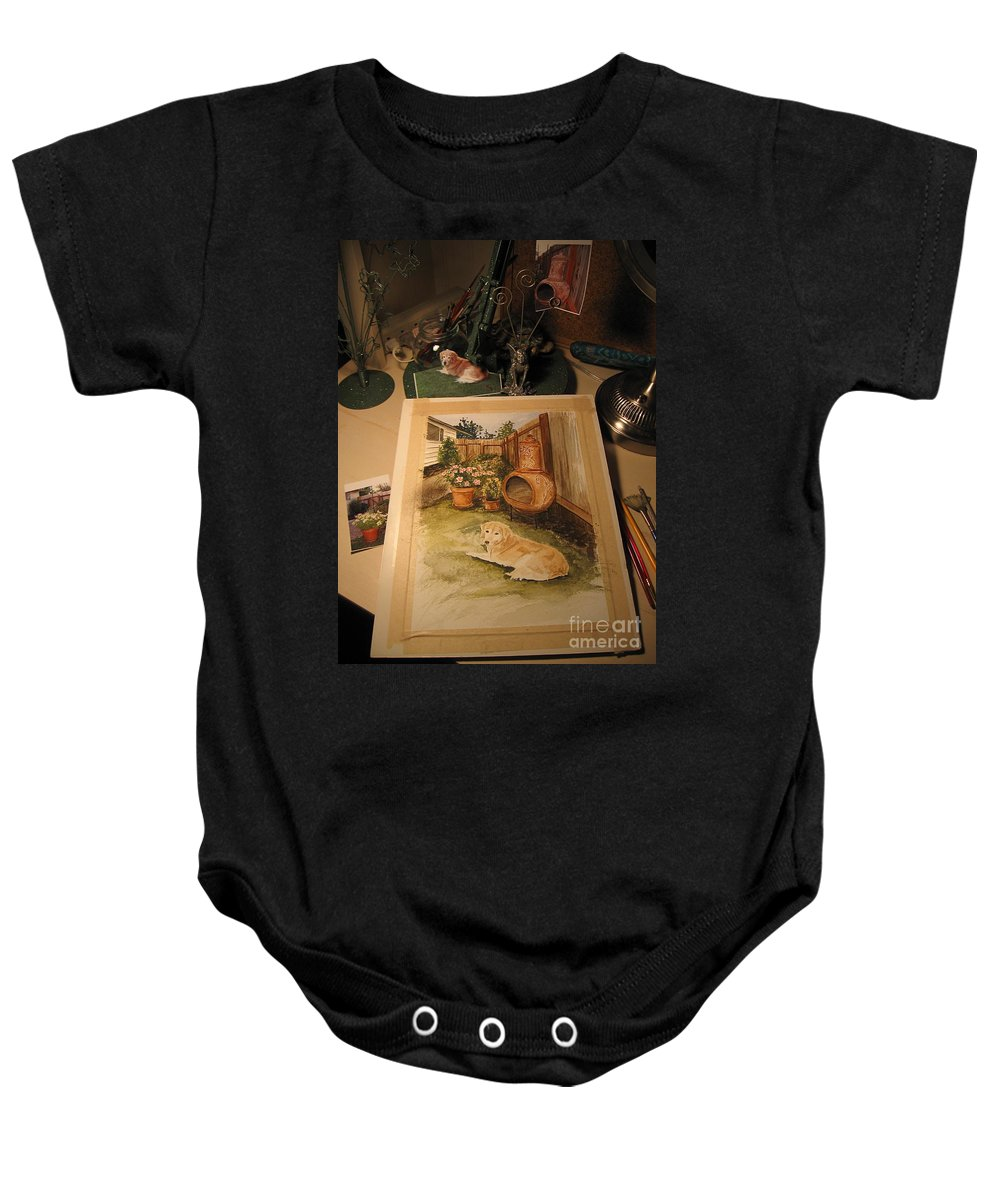 Watercolor Painting Baby Onesie featuring the photograph Work In Progress - An Artist's Desk by Nancy Patterson