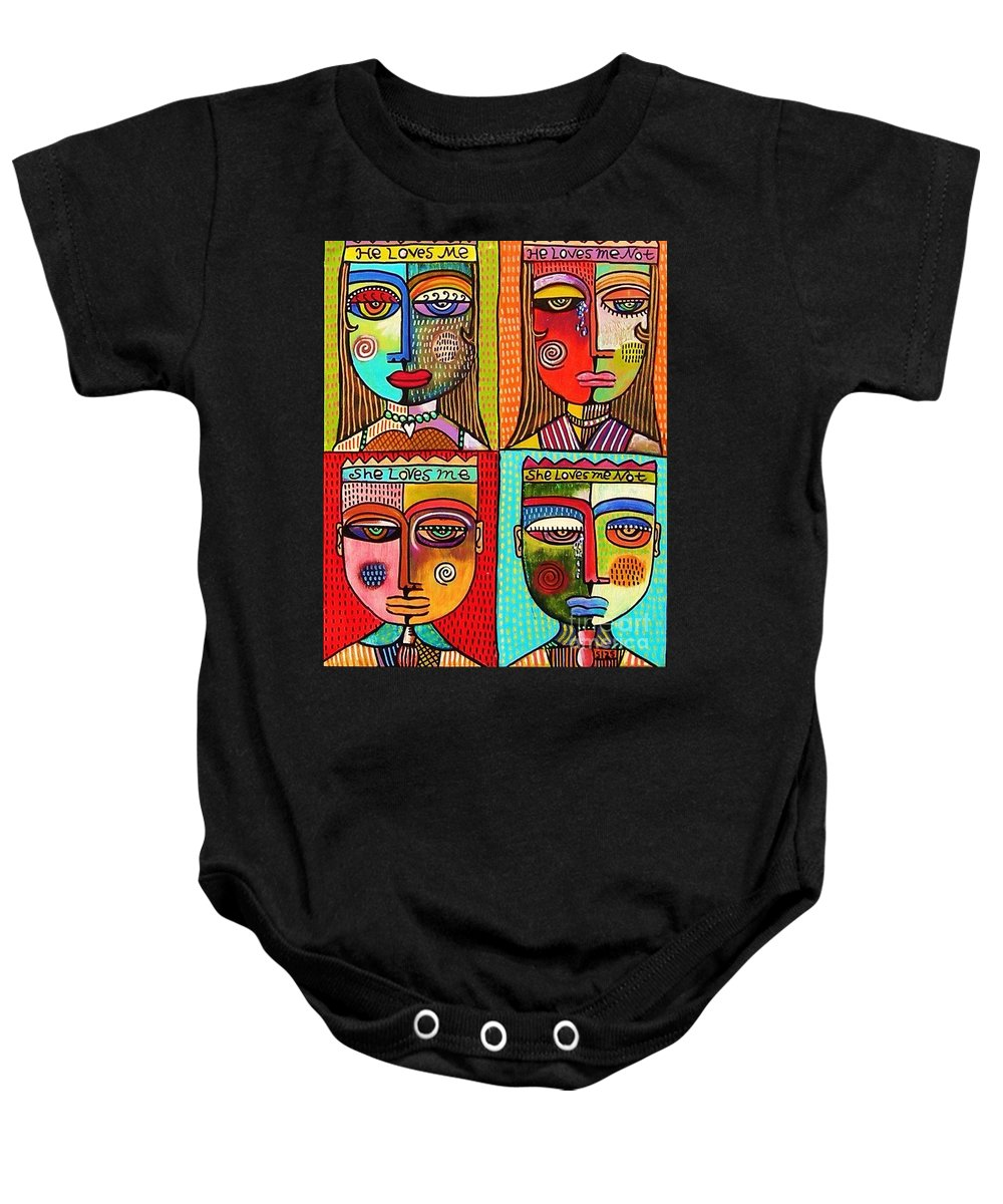 Baby Onesie featuring the painting X He Loves Me by Sandra Silberzweig
