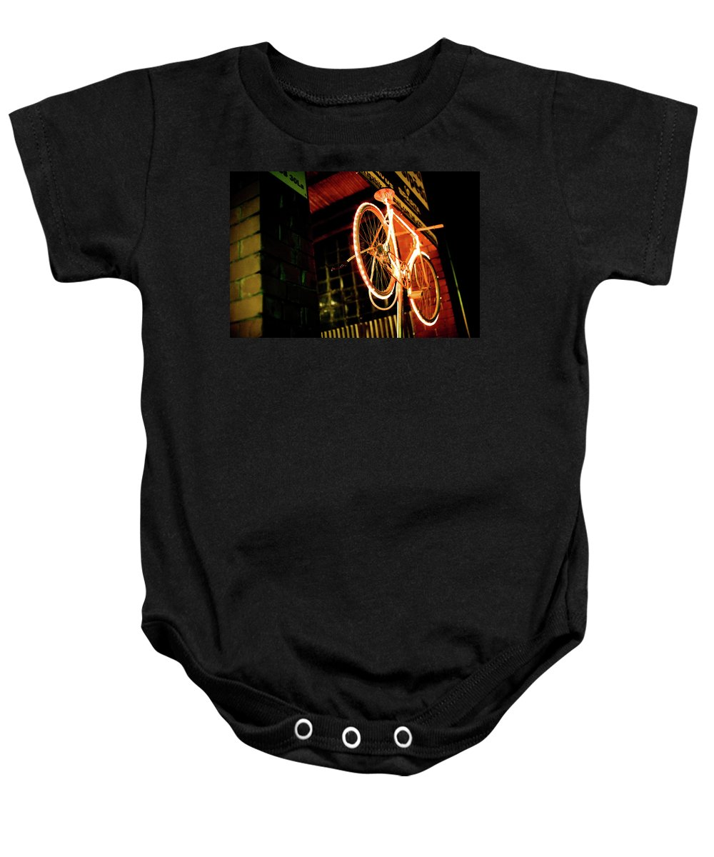 Bicycle Baby Onesie featuring the photograph Yellow Bicycle by Olivier De Rycke
