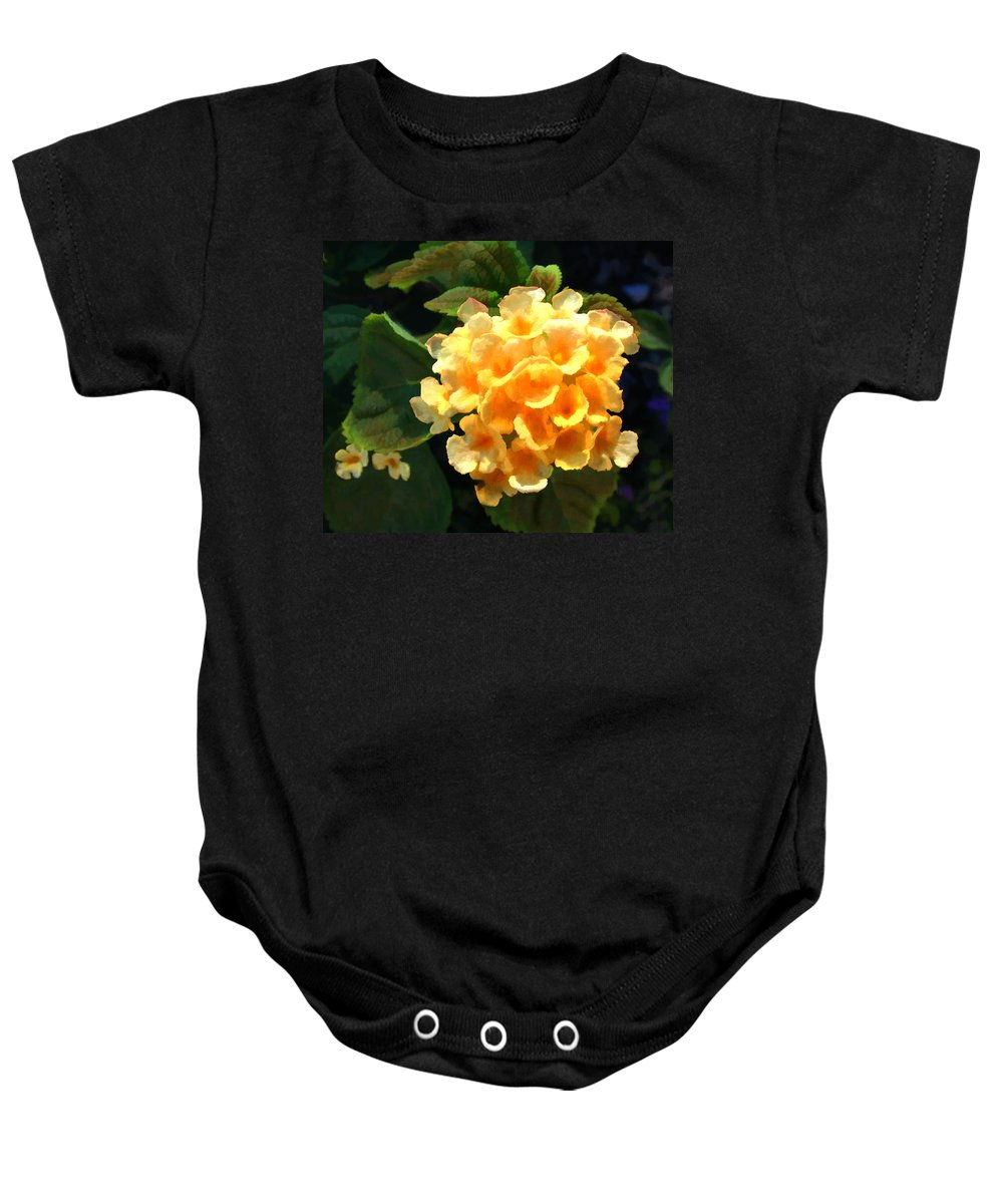 Lantana Lantanas Yellow Flower Flowers Garden Flora Floral Nature Natural Bloom Blooms Blossoms Blossom Bouquet Arrangement Colorful Plant Plants Botanical Botanic Blooming Gardens Gardening Tropical Annual Annuals Perennial Perennials Bulb Bulbs Painting Paintings Illustration Illustrations Digital Computer Baby Onesie featuring the painting Yellow Lantana by Elaine Plesser