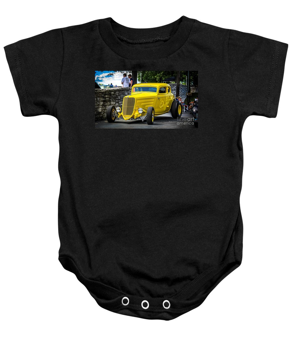 Car Baby Onesie featuring the photograph Yellow Rod by Perry Webster